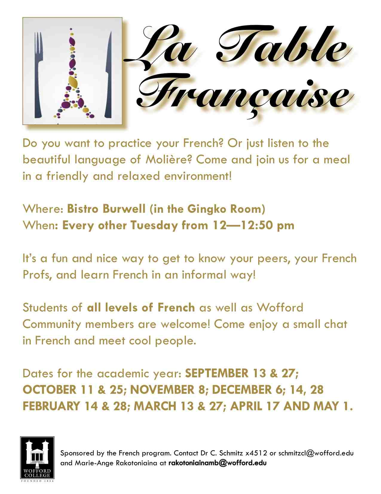 La Table Française, Bi Weekly, Tuesday Lunch Meetings For French Language  Conversation In The Ginko Room In Burwell From 12:00 12:50 P.m.